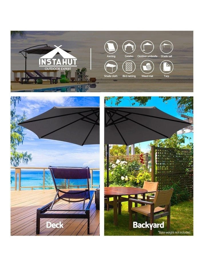 3M Garden Umbrella Outdoor Furniture Cantilever Shade Patio Charcoal image 4
