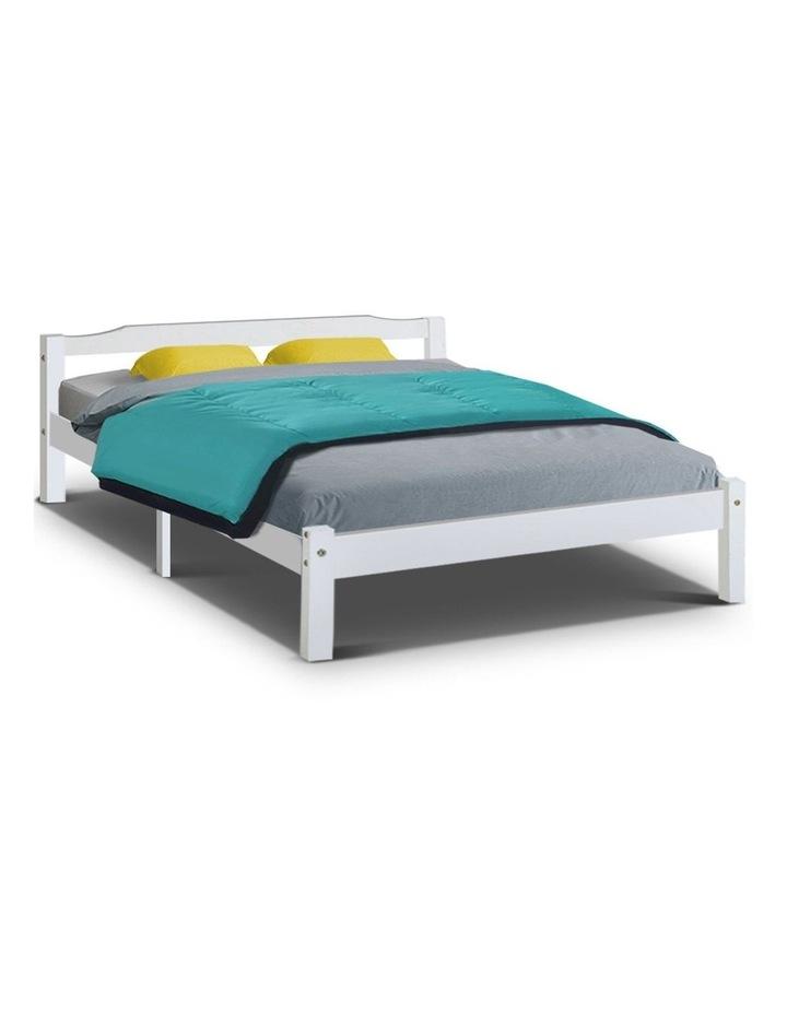 Queen Size Wooden Bed Frame Mattress Base Timber Platform White LEXI image 1