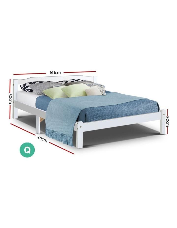Queen Size Wooden Bed Frame Mattress Base Timber Platform White LEXI image 2