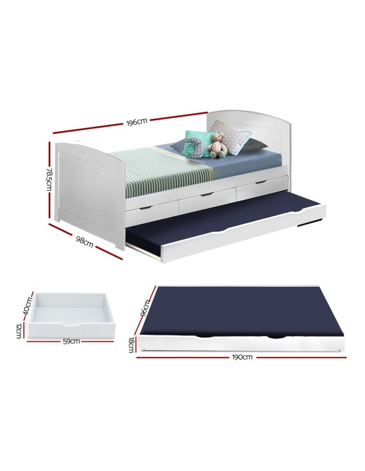 SINGLE Size Duncan Wooden Bed Frame Trundle Drawers White Mattress Base Platform Timber Pine Wood  Bedroom image 2