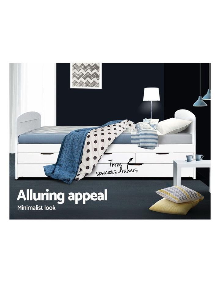 SINGLE Size Duncan Wooden Bed Frame Trundle Drawers White Mattress Base Platform Timber Pine Wood  Bedroom image 5