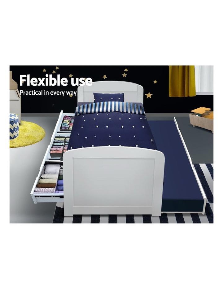 SINGLE Size Duncan Wooden Bed Frame Trundle Drawers White Mattress Base Platform Timber Pine Wood  Bedroom image 6
