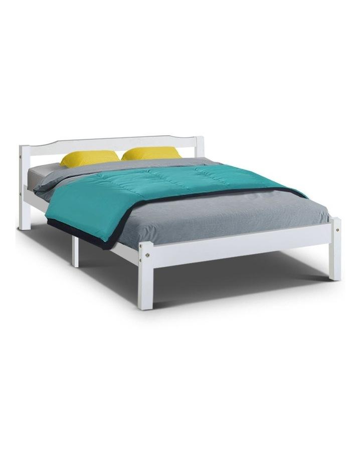 Double Full Size Wooden Bed Frame Mattress Base Timber Platform White image 1