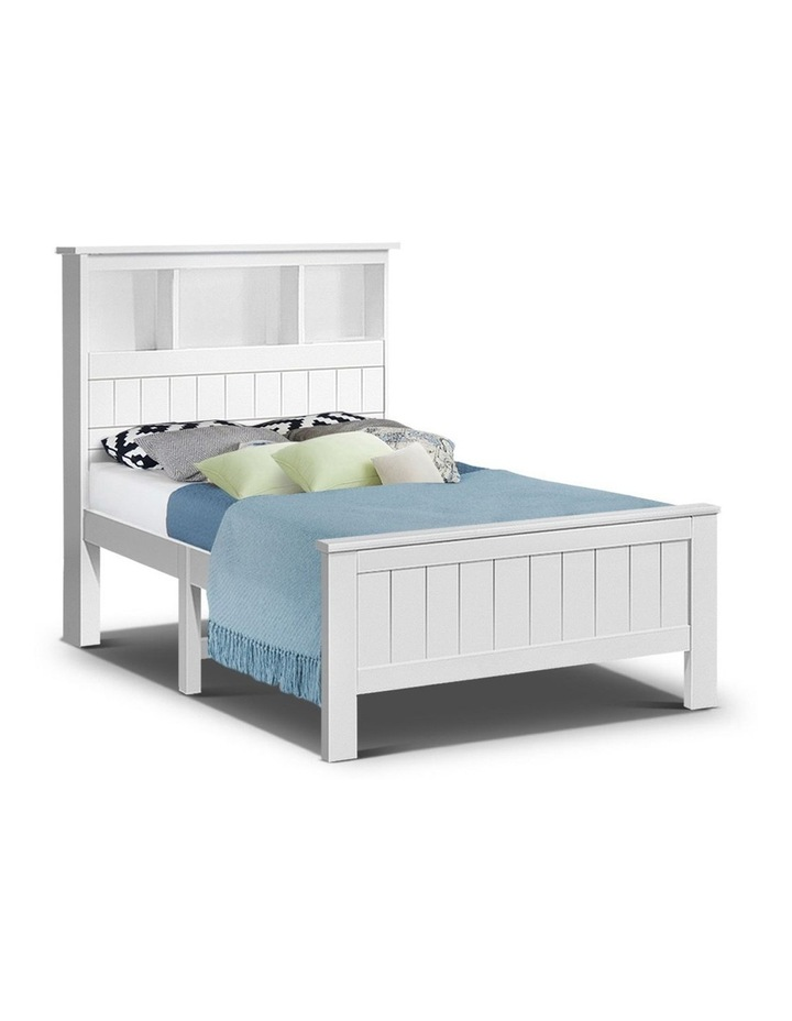 KING SINGLE Size Wooden Bookshelf Bed Frame White Mattress Base Platform Timber Pine Wood Bedroom Kids image 1