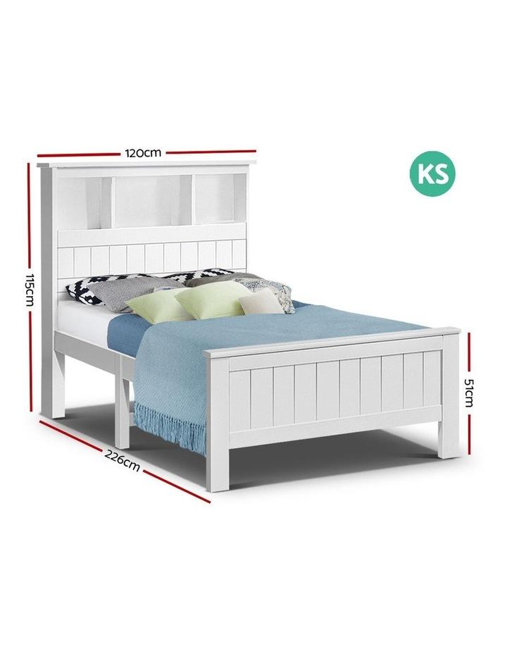 KING SINGLE Size Wooden Bookshelf Bed Frame White Mattress Base Platform Timber Pine Wood Bedroom Kids image 2