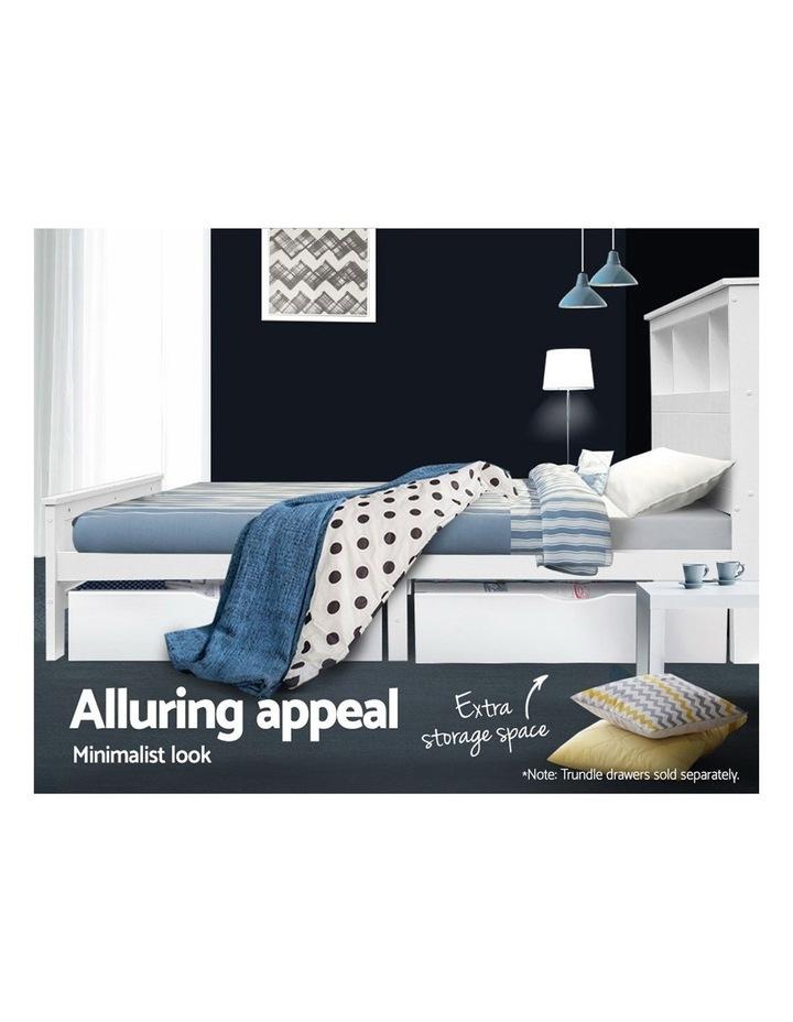 KING SINGLE Size Wooden Bookshelf Bed Frame White Mattress Base Platform Timber Pine Wood Bedroom Kids image 6