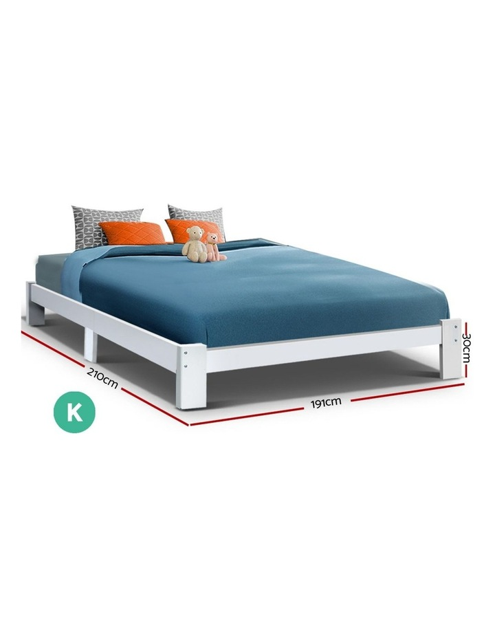 KING Size Bed Frame Timber Pine Wood White Mattress Base Platform Bedroom Drawers image 2