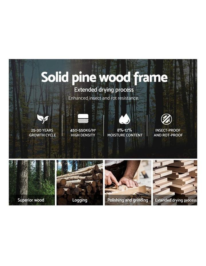 KING Size Bed Frame Timber Pine Wood White Mattress Base Platform Bedroom Drawers image 4