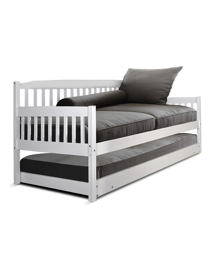 SINGLE Size Wooden Sofa Bed Frame White Daybed Mattress Base Platform Timber Pine Wood  Bedroom Kids Adults image 1