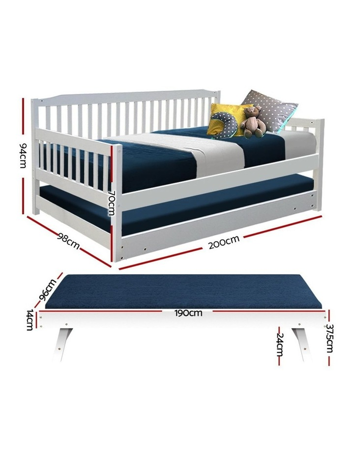 SINGLE Size Wooden Sofa Bed Frame White Daybed Mattress Base Platform Timber Pine Wood  Bedroom Kids Adults image 2