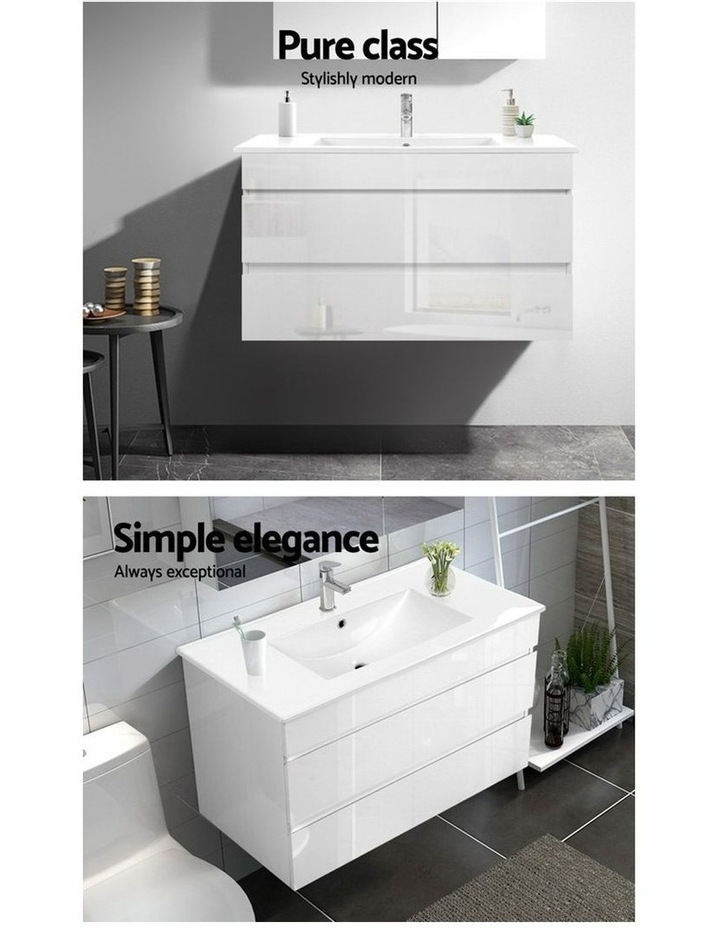 900mm Bathroom Vanity Cabinet Basin Unit Wash Sink Storage Wall Mounted White image 4