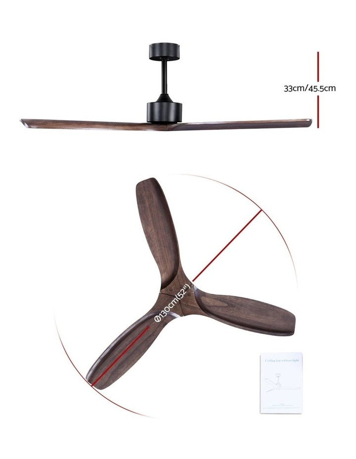 52'' Fan Remote Control 8H Timer 3 Speeds 3 Wooden Blades image 2