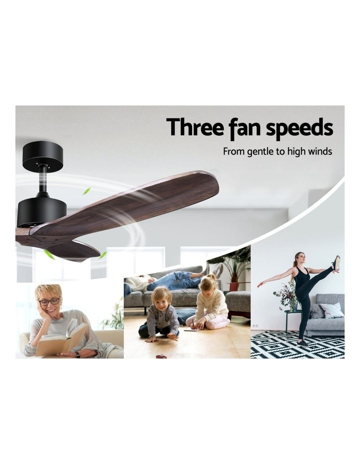 52'' Fan Remote Control 8H Timer 3 Speeds 3 Wooden Blades image 3