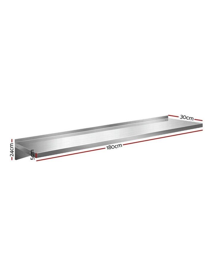 Stainless Steel Wall Shelf Kitchen Shelves Rack Mounted Display Shelving 600mm image 2