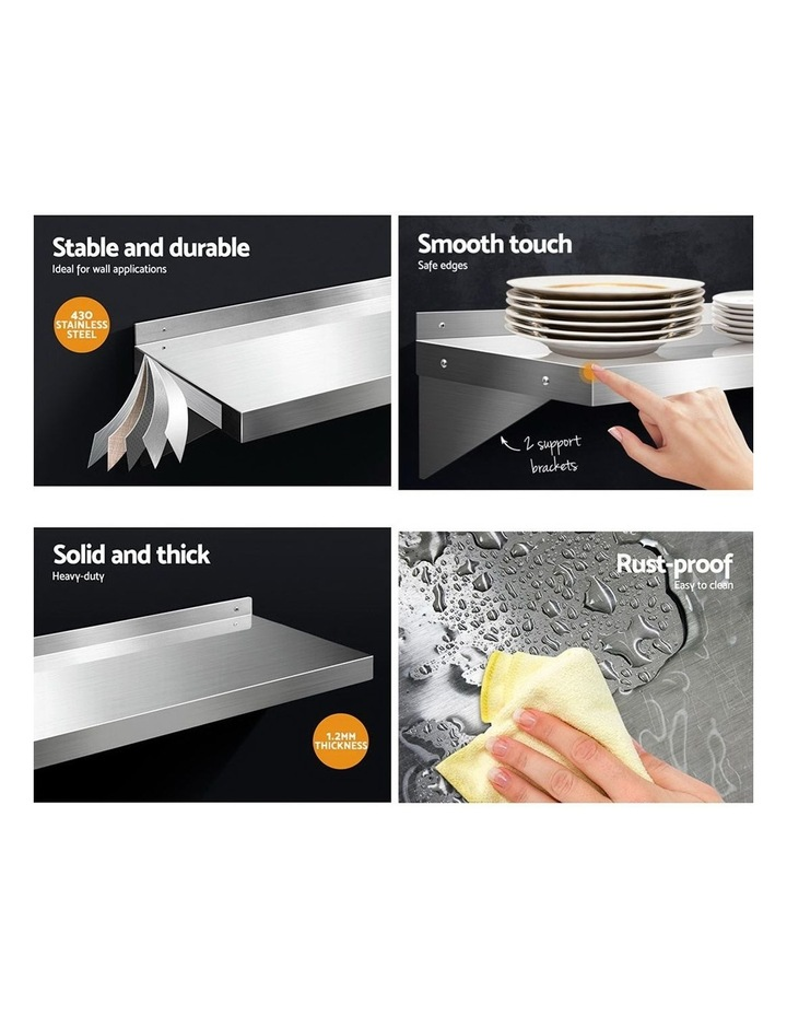 Stainless Steel Wall Shelf Kitchen Shelves Rack Mounted Display Shelving 2100mm image 5