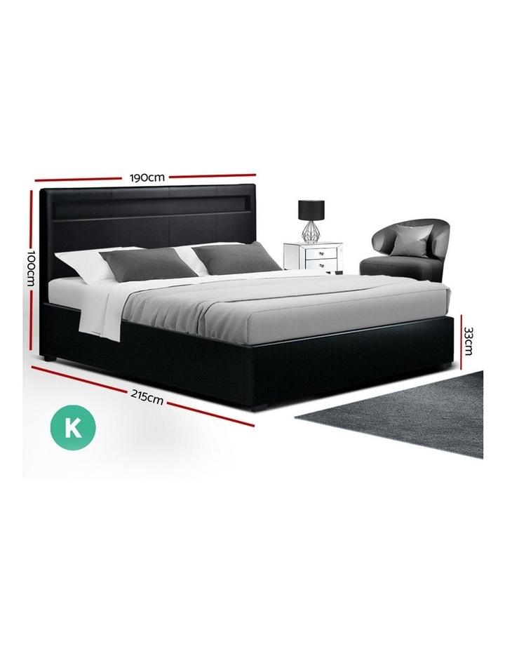 LED Bed Frame King Size Gas Lift Base With Storage Black Leather image 2