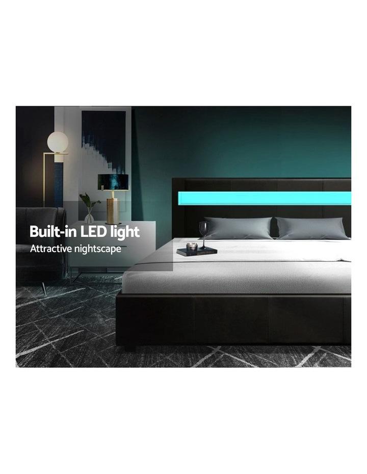 LED Bed Frame King Size Gas Lift Base With Storage Black Leather image 4