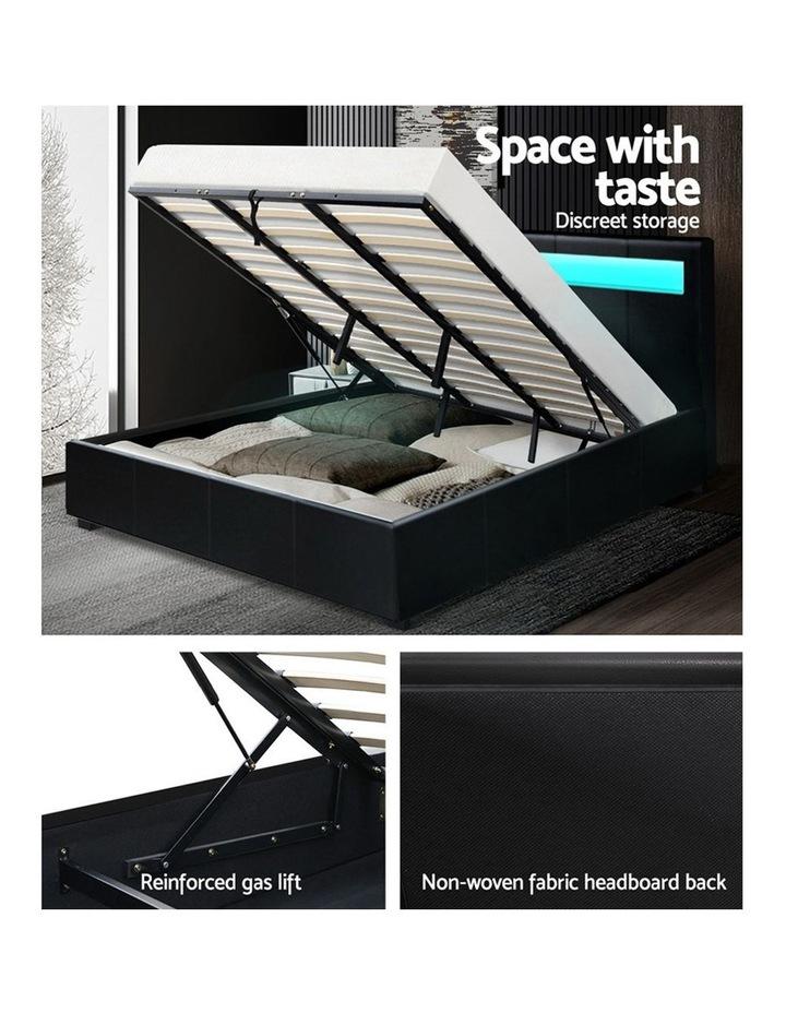 LED Bed Frame King Size Gas Lift Base With Storage Black Leather image 6