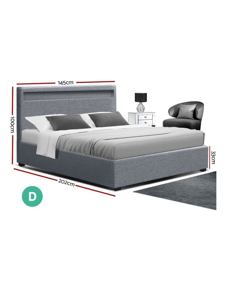 Bed Frame Double Full Size Gas Lift Base With Storage Grey Fabric COLE image 2