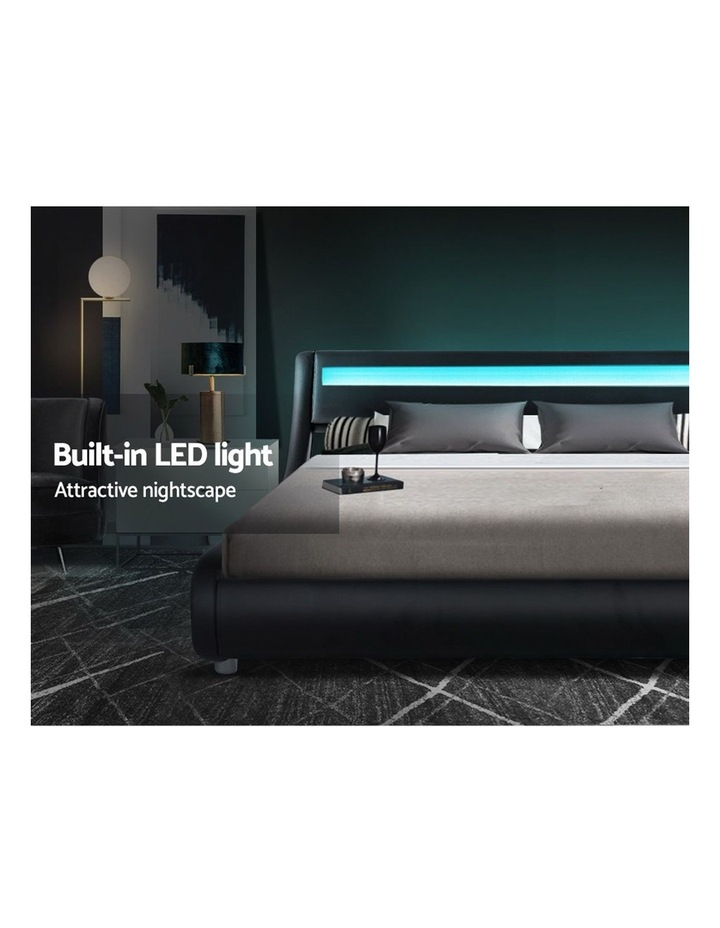 LED Bed Frame Double Full Size Base Mattress Platform Black Leather ALEX image 4