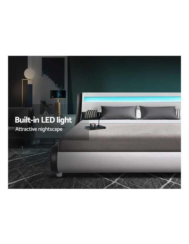 LED Bed Frame Double Full Size Base Mattress Platform Leather Wooden ALEX image 4