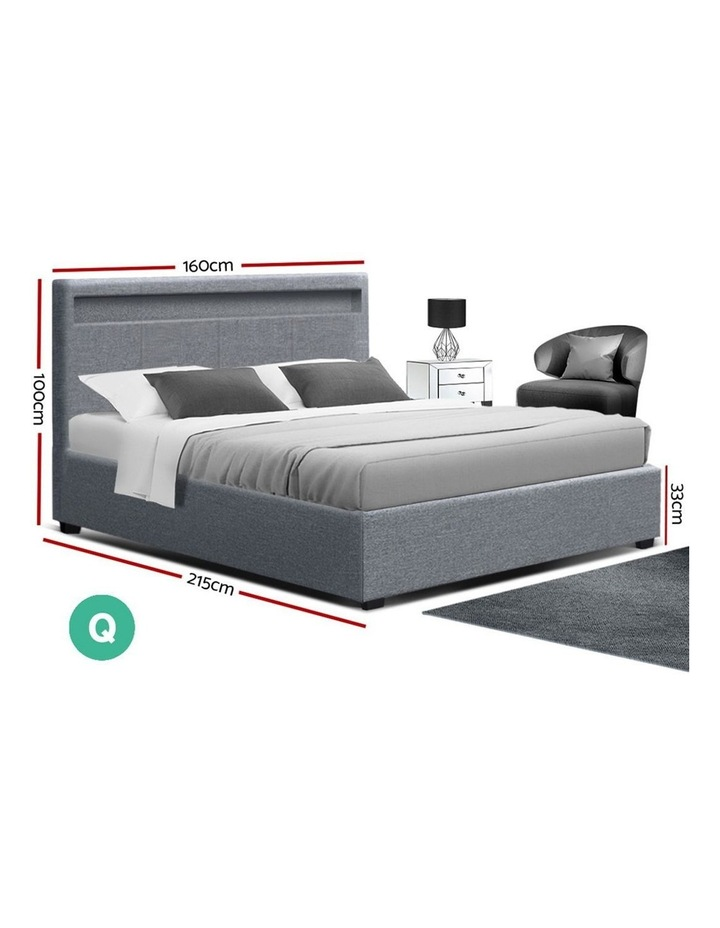 LED Bed Frame Queen Size Gas Lift Base With Storage Grey Fabric COLE image 2