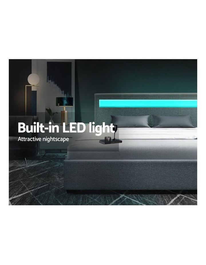 LED Bed Frame Queen Size Gas Lift Base With Storage Grey Fabric COLE image 4