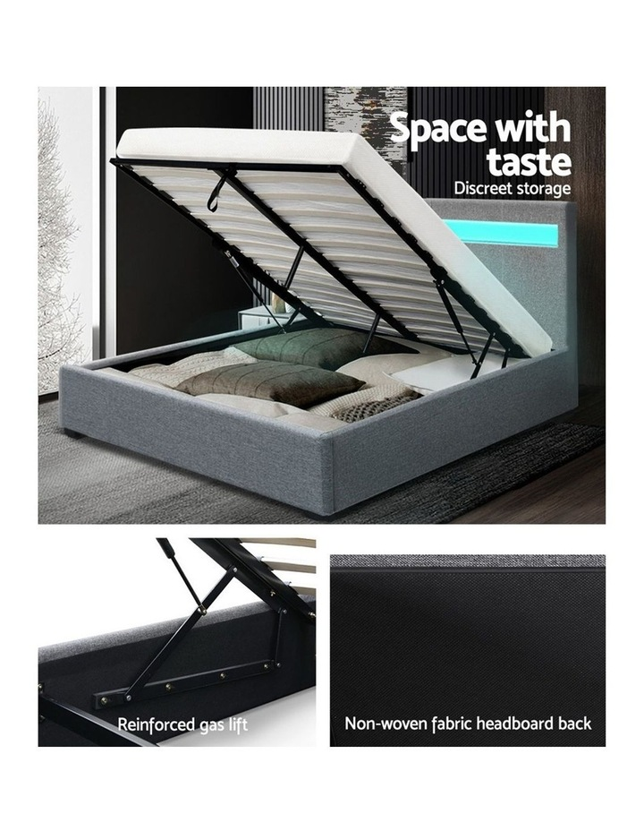 LED Bed Frame Queen Size Gas Lift Base With Storage Grey Fabric COLE image 6