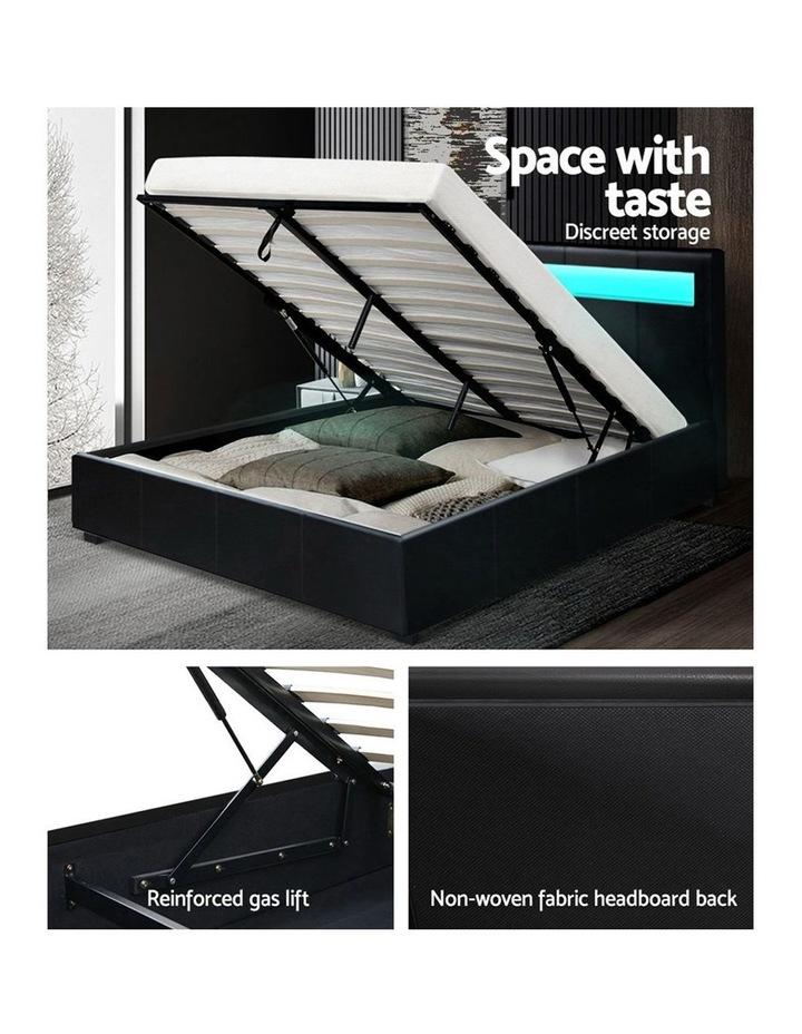 LED Bed Frame Double Full Size Gas Lift Base With Storage Black Leather image 6