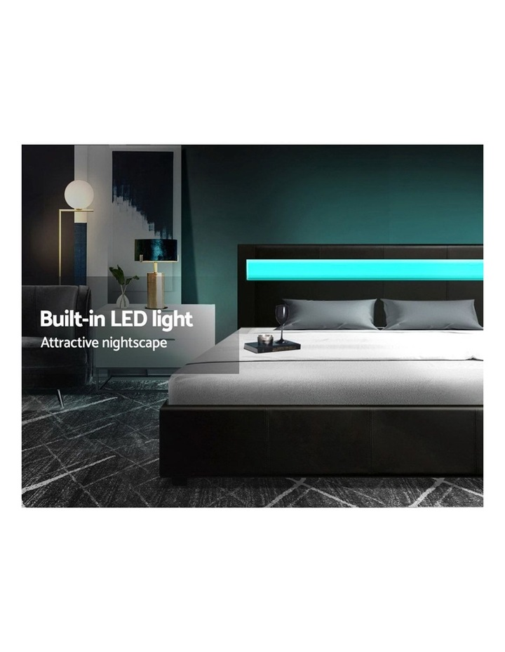 LED Bed Frame Queen Size Gas Lift Base With Storage Black Leather image 4