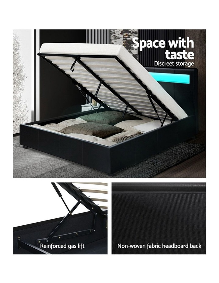 LED Bed Frame Queen Size Gas Lift Base With Storage Black Leather image 6
