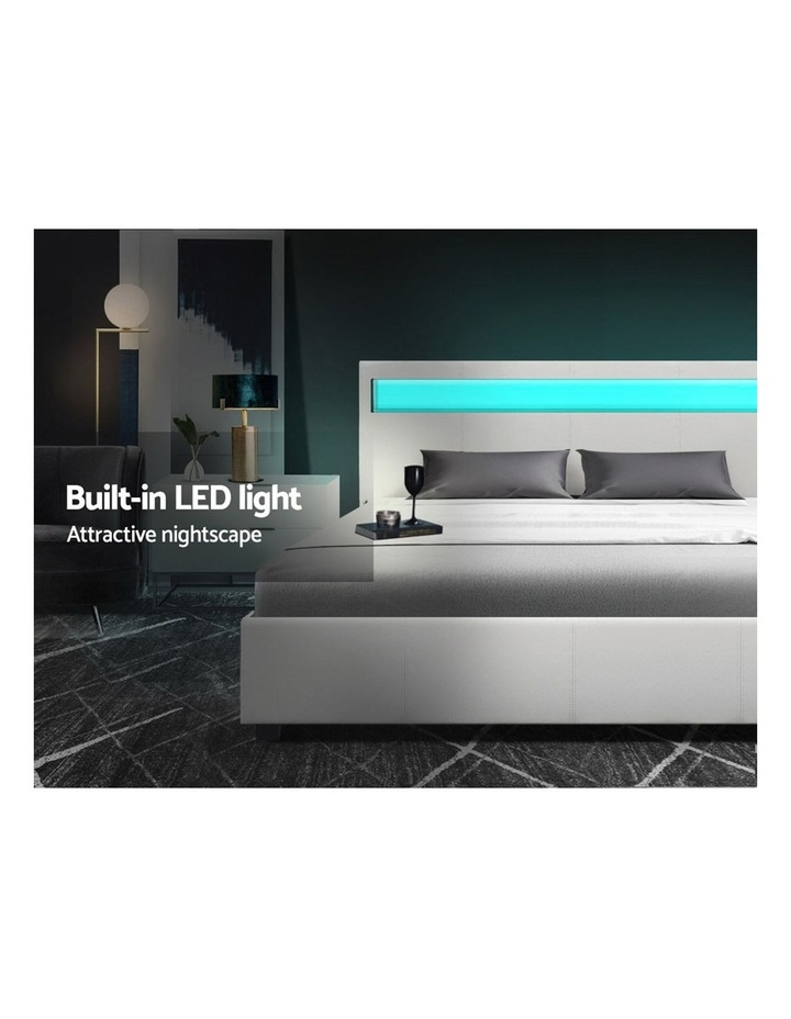 LED Bed Frame Double Full Size Gas Lift Base With Storage White Leather image 4