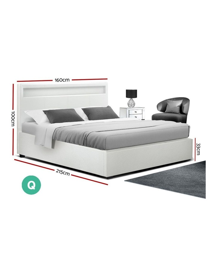 LED Bed Frame Queen Size Gas Lift Base With Storage White Leather image 2