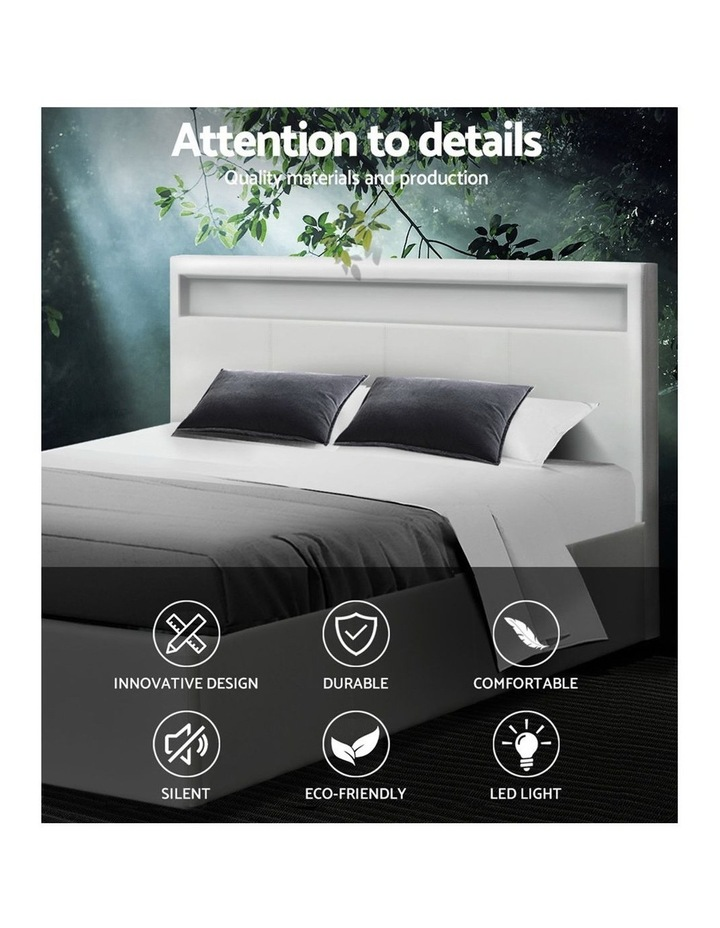 LED Bed Frame Queen Size Gas Lift Base With Storage White Leather image 3