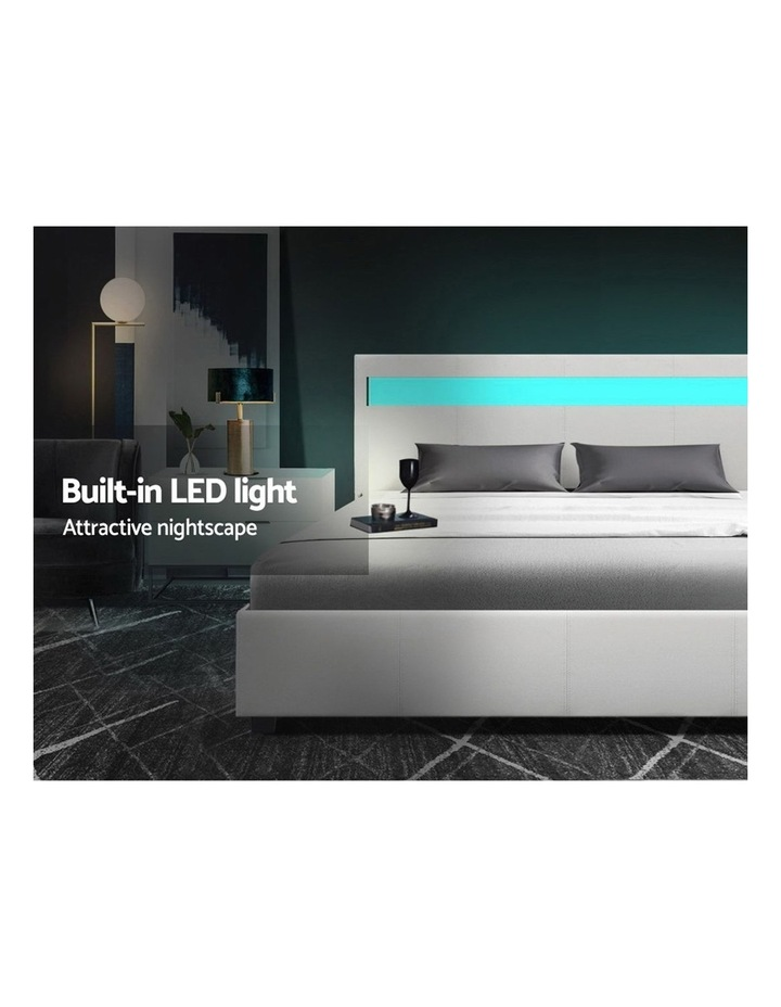 LED Bed Frame Queen Size Gas Lift Base With Storage White Leather image 4