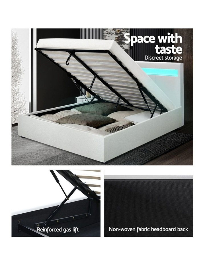 LED Bed Frame Queen Size Gas Lift Base With Storage White Leather image 6