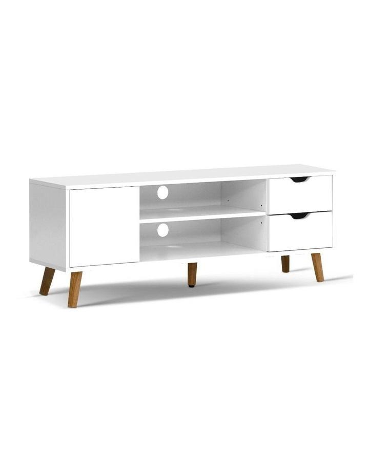 TV Cabinet Entertainment Unit Stand Wooden Scandinavian 120cm White image 1