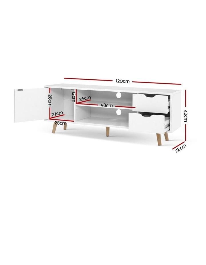 TV Cabinet Entertainment Unit Stand Wooden Scandinavian 120cm White image 2