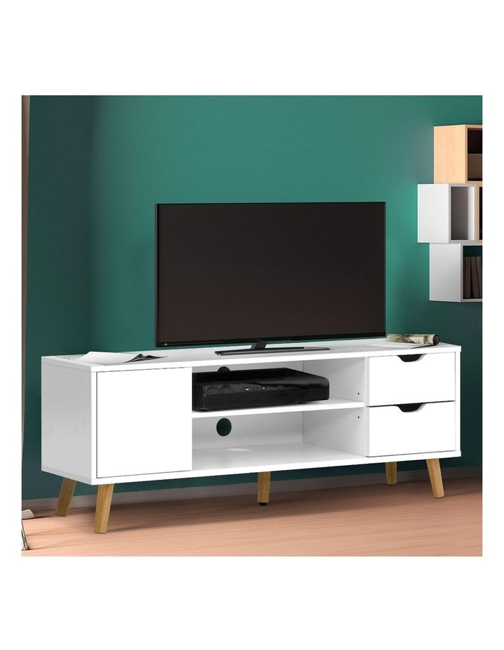 TV Cabinet Entertainment Unit Stand Wooden Scandinavian 120cm White image 6