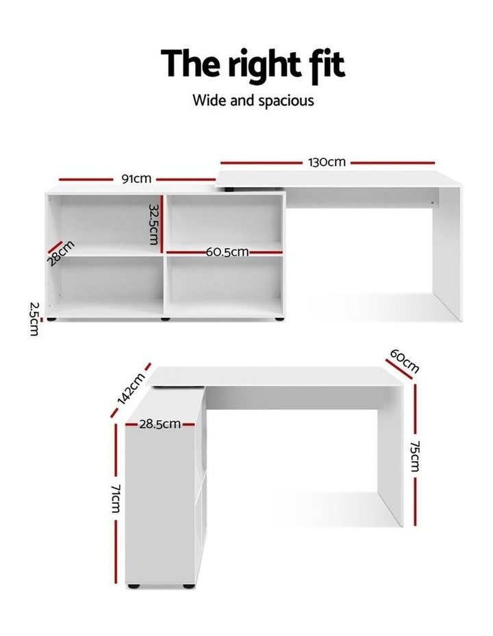 Office Computer Desk Corner Study Table Workstation Bookcase Storage image 2