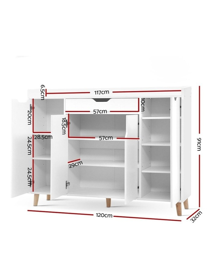 Shoe Cabinet Shoes Storage Rack 120cm Organiser White Drawer Cupboard image 2