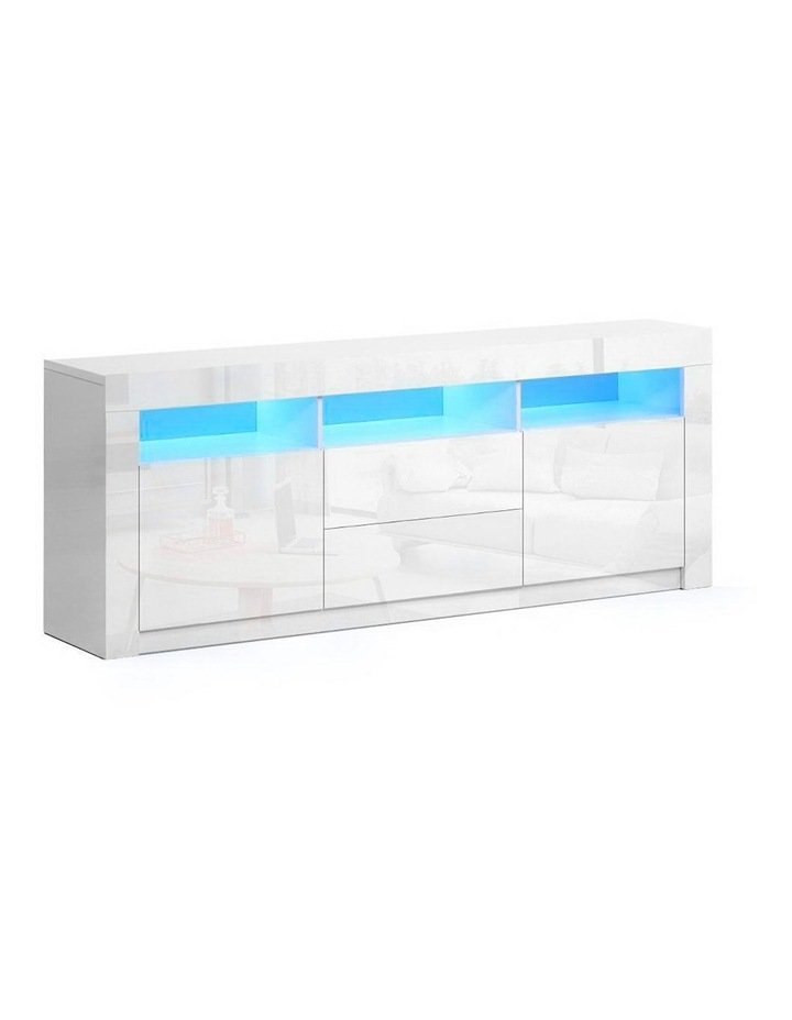 TV Cabinet Entertainment Unit Stand RGB LED Gloss Drawers 160cm White image 1