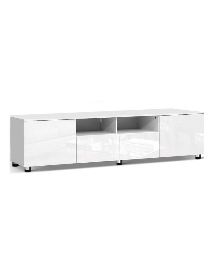 TV Cabinet Entertainment Unit Stand High Gloss Furniture 205cm White image 1