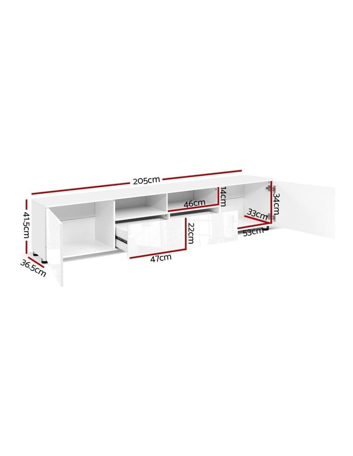 TV Cabinet Entertainment Unit Stand High Gloss Furniture 205cm White image 2