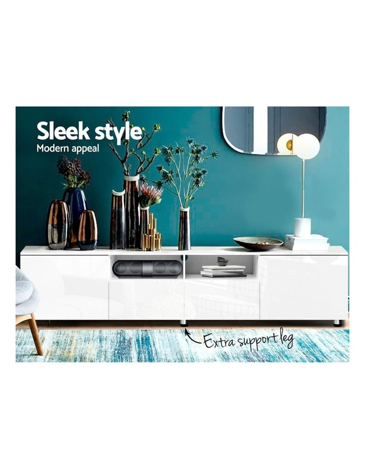 TV Cabinet Entertainment Unit Stand High Gloss Furniture 205cm White image 3