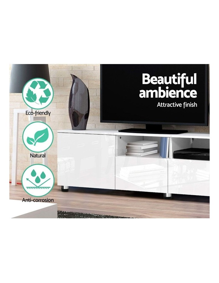 TV Cabinet Entertainment Unit Stand High Gloss Furniture 205cm White image 4