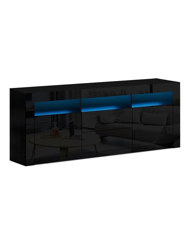 TV Cabinet Entertainment Unit Stand RGB LED Gloss Drawers 160cm Black image 1