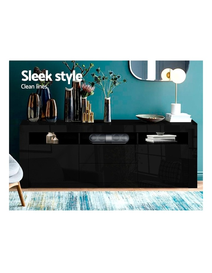 TV Cabinet Entertainment Unit Stand RGB LED Gloss Drawers 160cm Black image 3