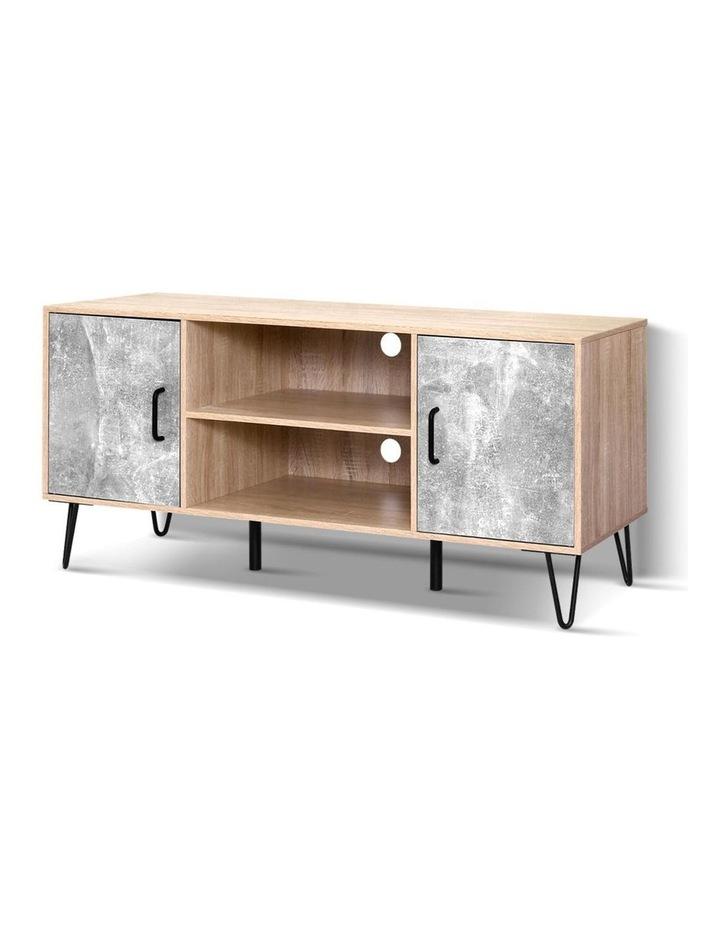 TV Cabinet Entertainment Unit Stand Industrial Wooden Metal Legs Oak image 1