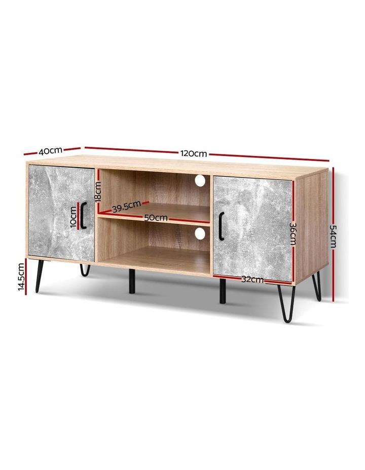 TV Cabinet Entertainment Unit Stand Industrial Wooden Metal Legs Oak image 2